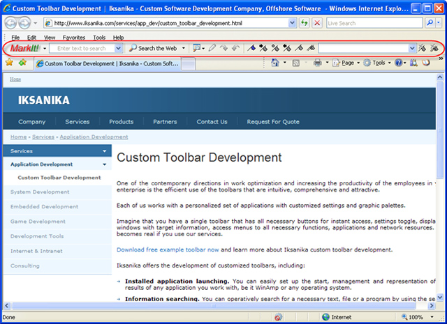 Bookmark Toolbar is IE tool for text search, word highlighting and bookmarking.