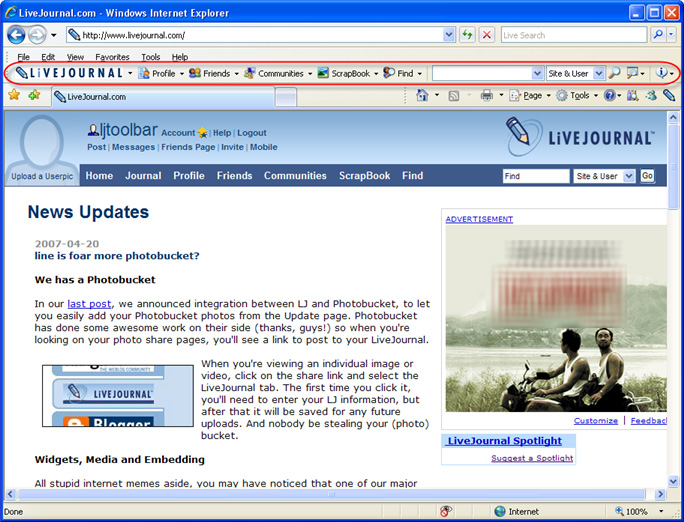 Click to view LiveJournal Toolbar 1.0.0.1 screenshot