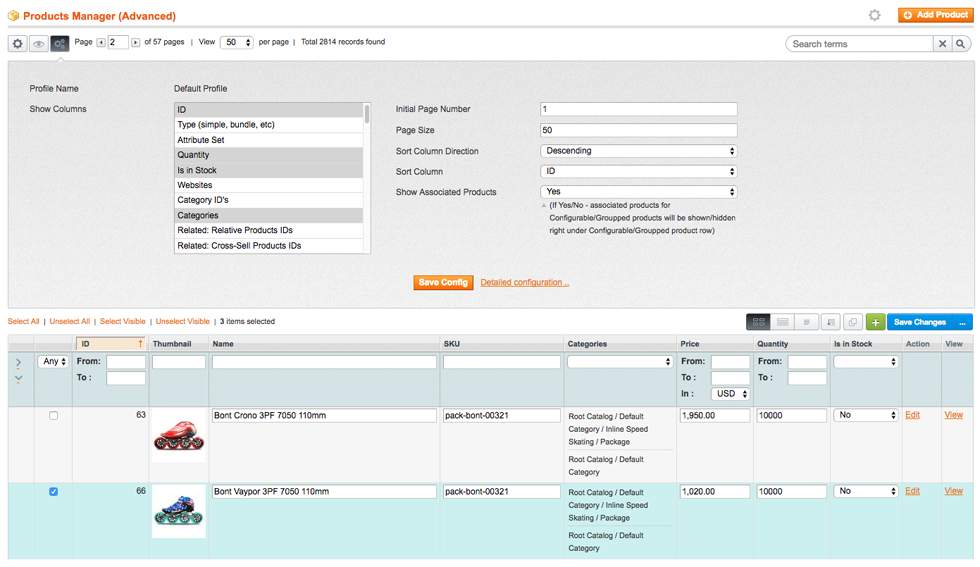 Adjustable Product Grid for Magento