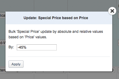 Modify Price/Special Price Based on Price/Cost mass action