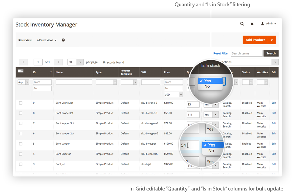 Stock Inventory Manager for Magento 2