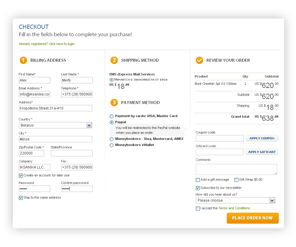 One Step Checkout Magento