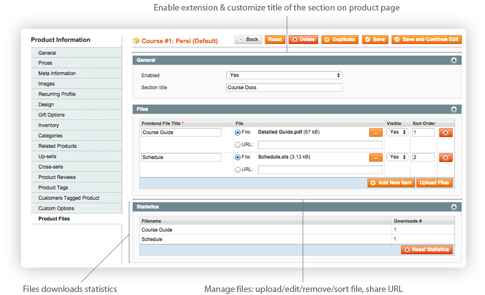 Magento Product Files extension