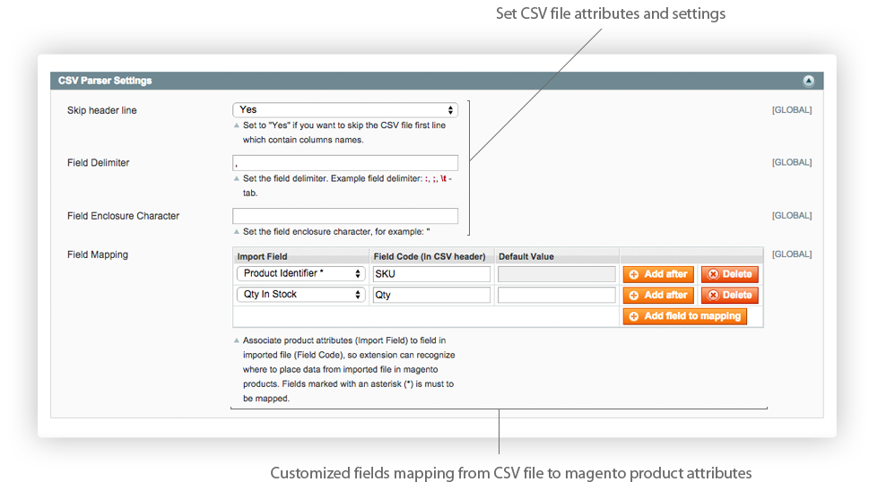 Magento Stock Inventory Import extension